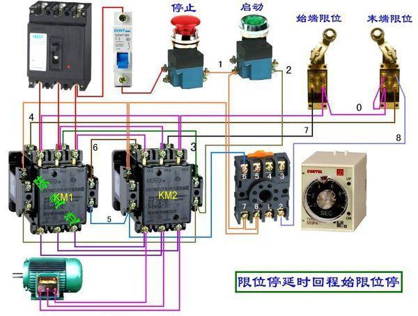 两个接触器,两个行程开关,两个时间继电器,设计一个电路,控制电机的正
