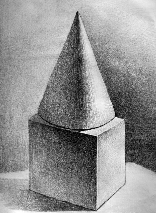 正方体和圆柱体的合并明暗素描怎么画啊