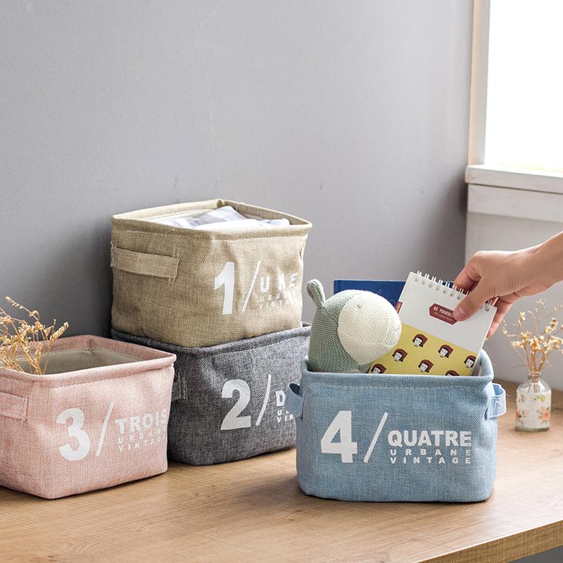 【简易收纳】清新棉麻杂物收纳筐储物篮手提布艺防水整理框