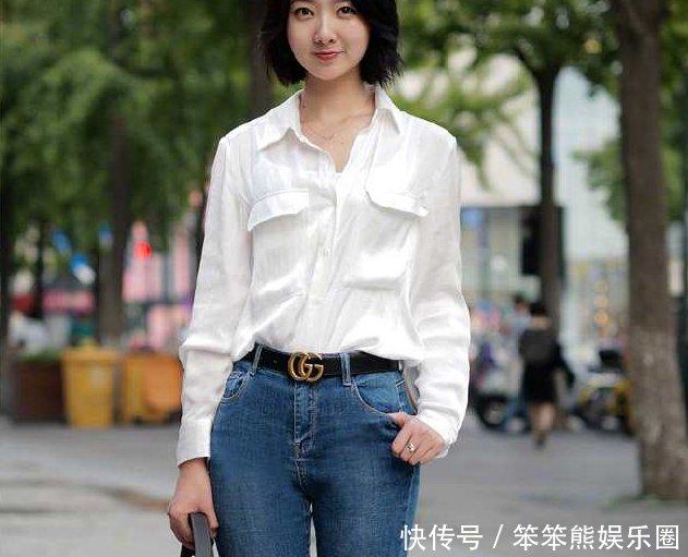 街拍姑娘短发白女生牛仔裤,穿出了衬衫的港风蛊整超级经典图片