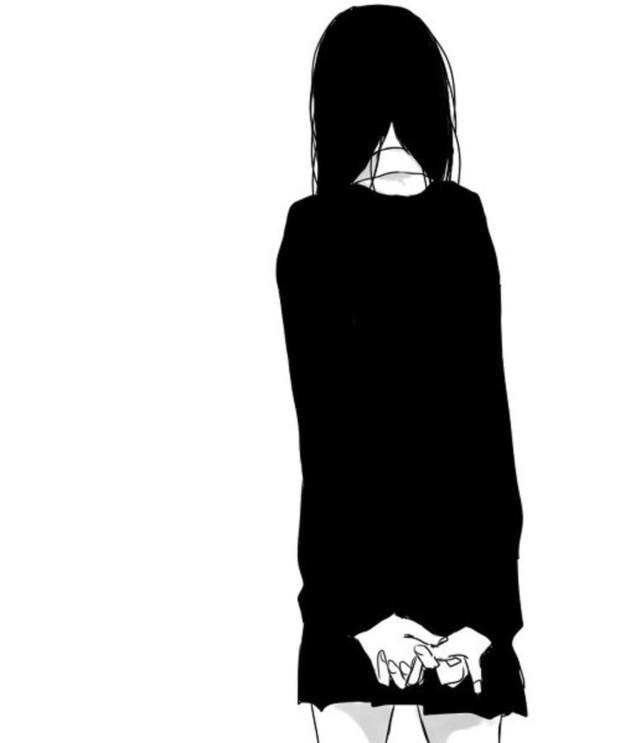 黑白二次元人物背面图