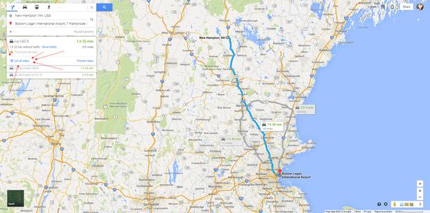 请问从美国波士顿洛干机场到新罕布什尔州汉普顿应该
