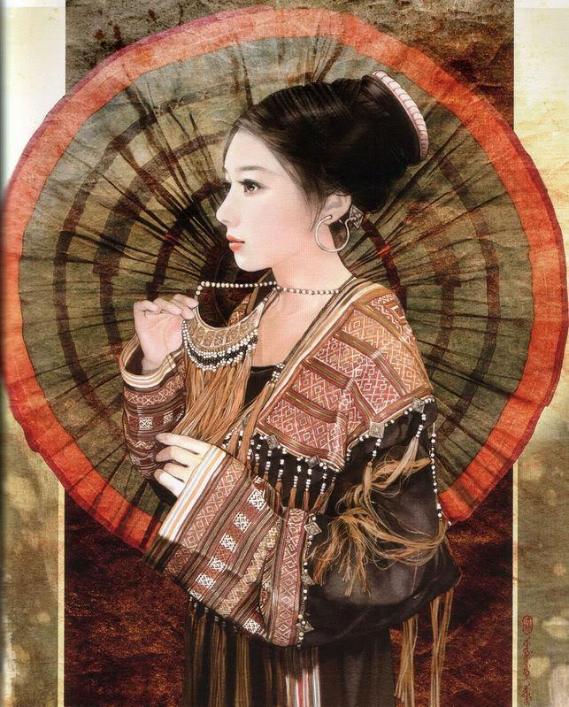 55少数民族美女图之瑶族、裕固族、彝族