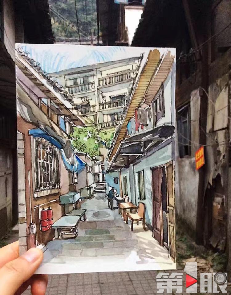 文艺!90后姑娘手绘重庆老街图