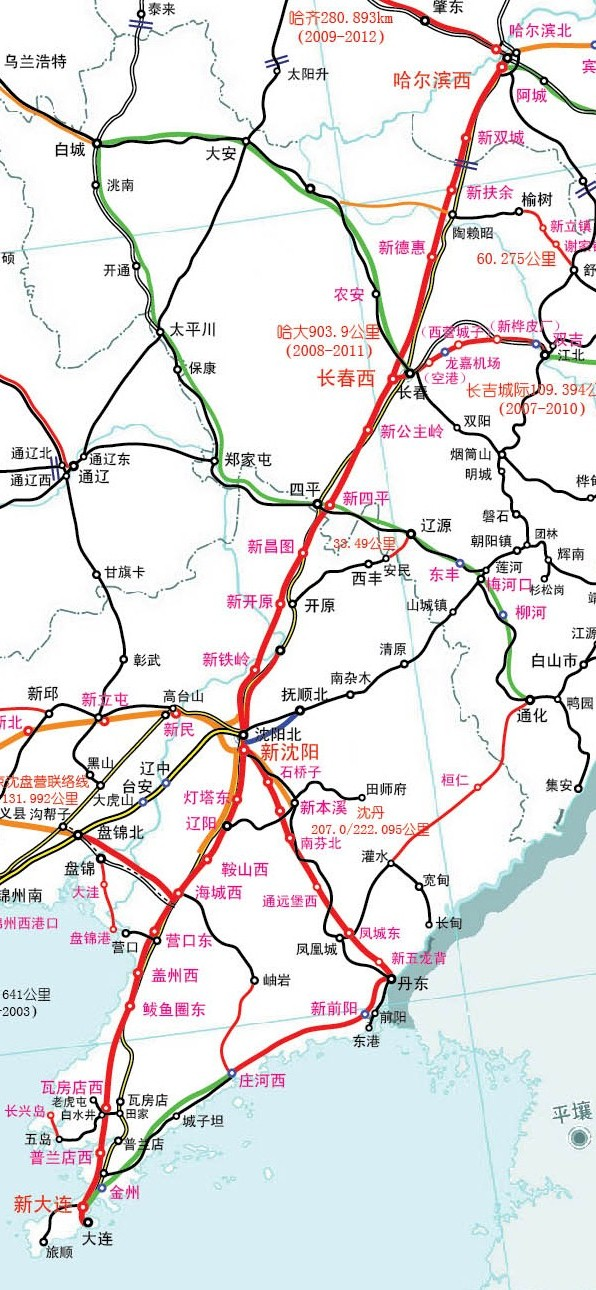 哈大高铁线路图-哈大高铁