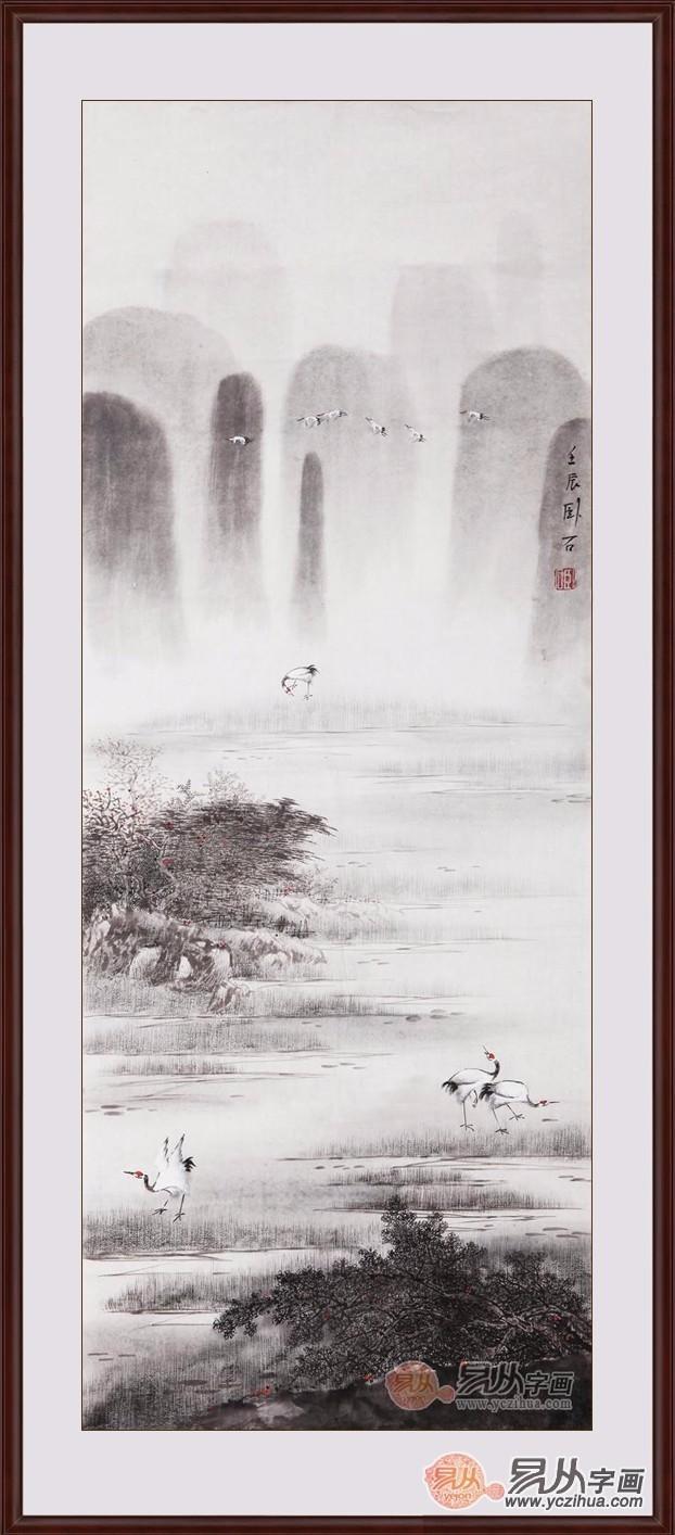 华卧石三尺竖幅动物画作品《仙鹤作品之一》