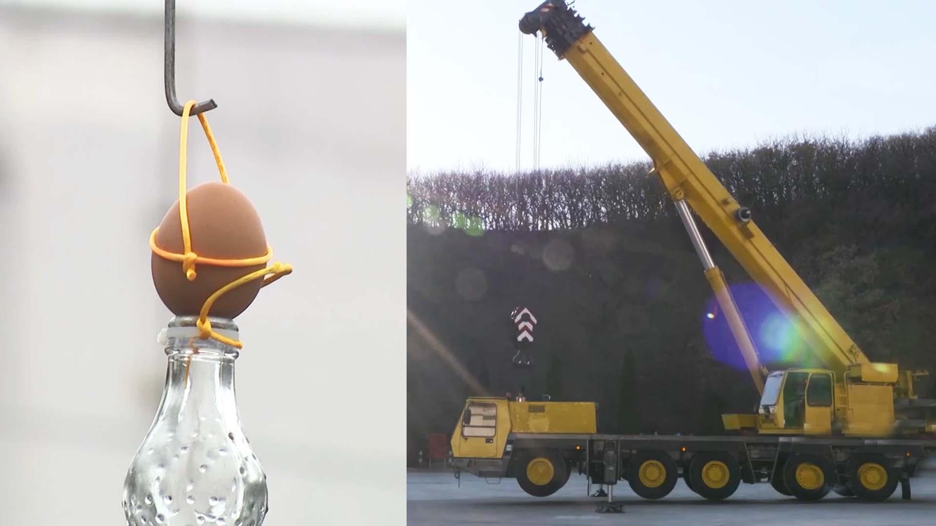 """解放军金牌吊装手驾130吨级起重机""""请你吃鸡蛋"""""""