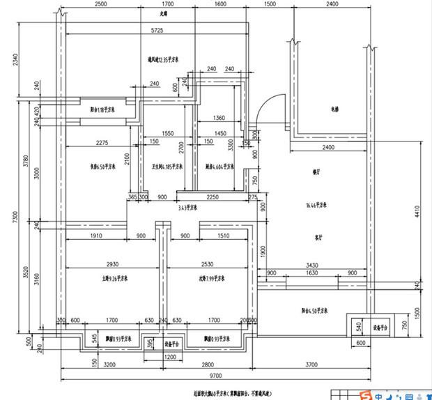 三房一厅一厨一卫设计图