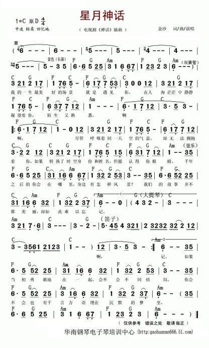 美丽神话电子琴简谱图片
