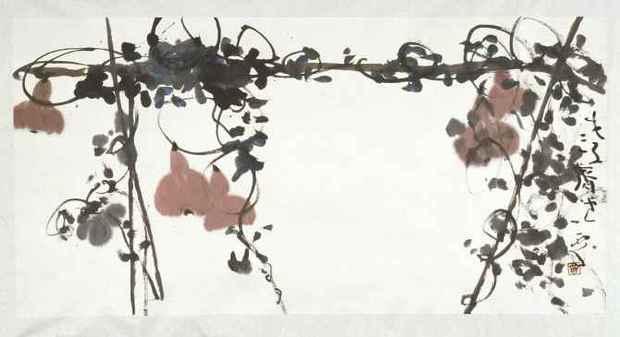 郑一粟的水墨画 葫芦藤