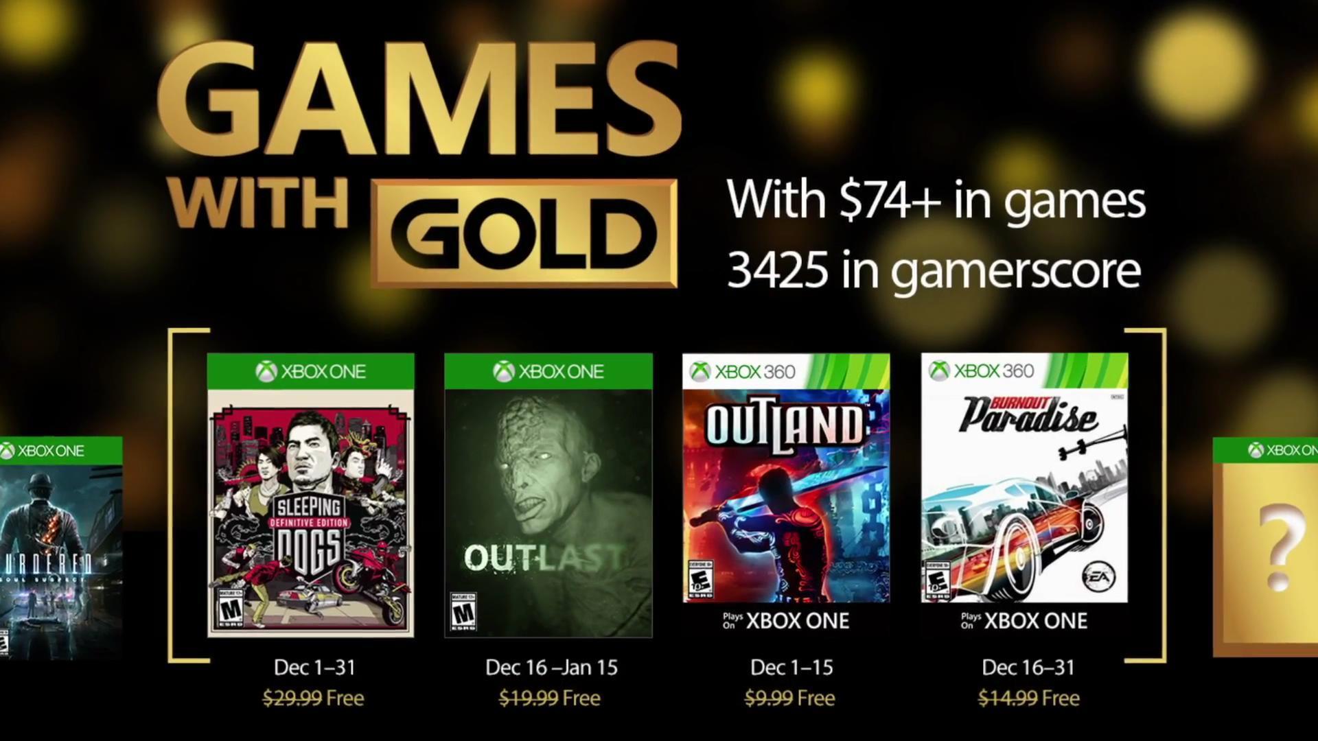 XBox黄金会员12月免费游戏提前公布